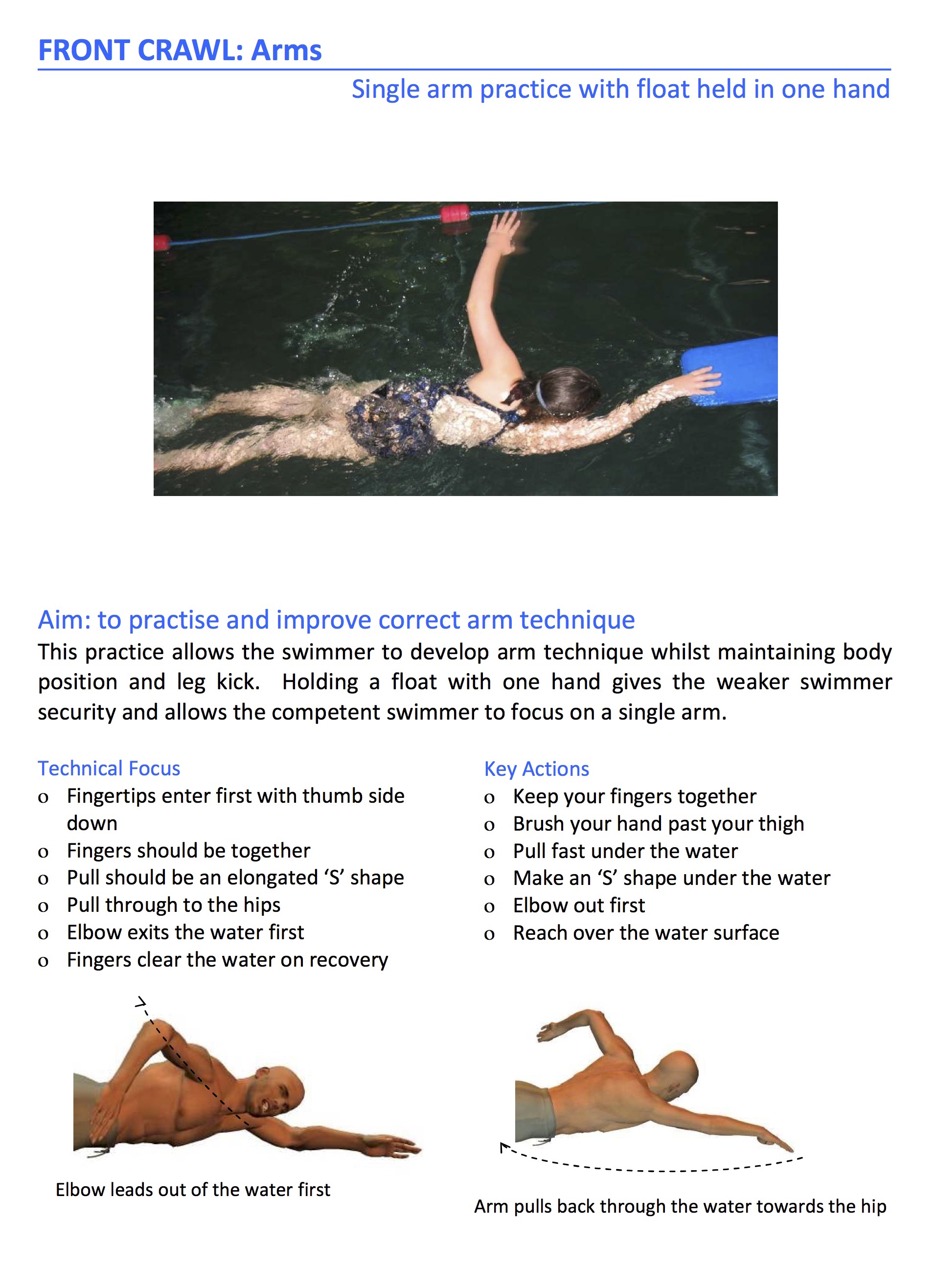 front crawl arm action exercise