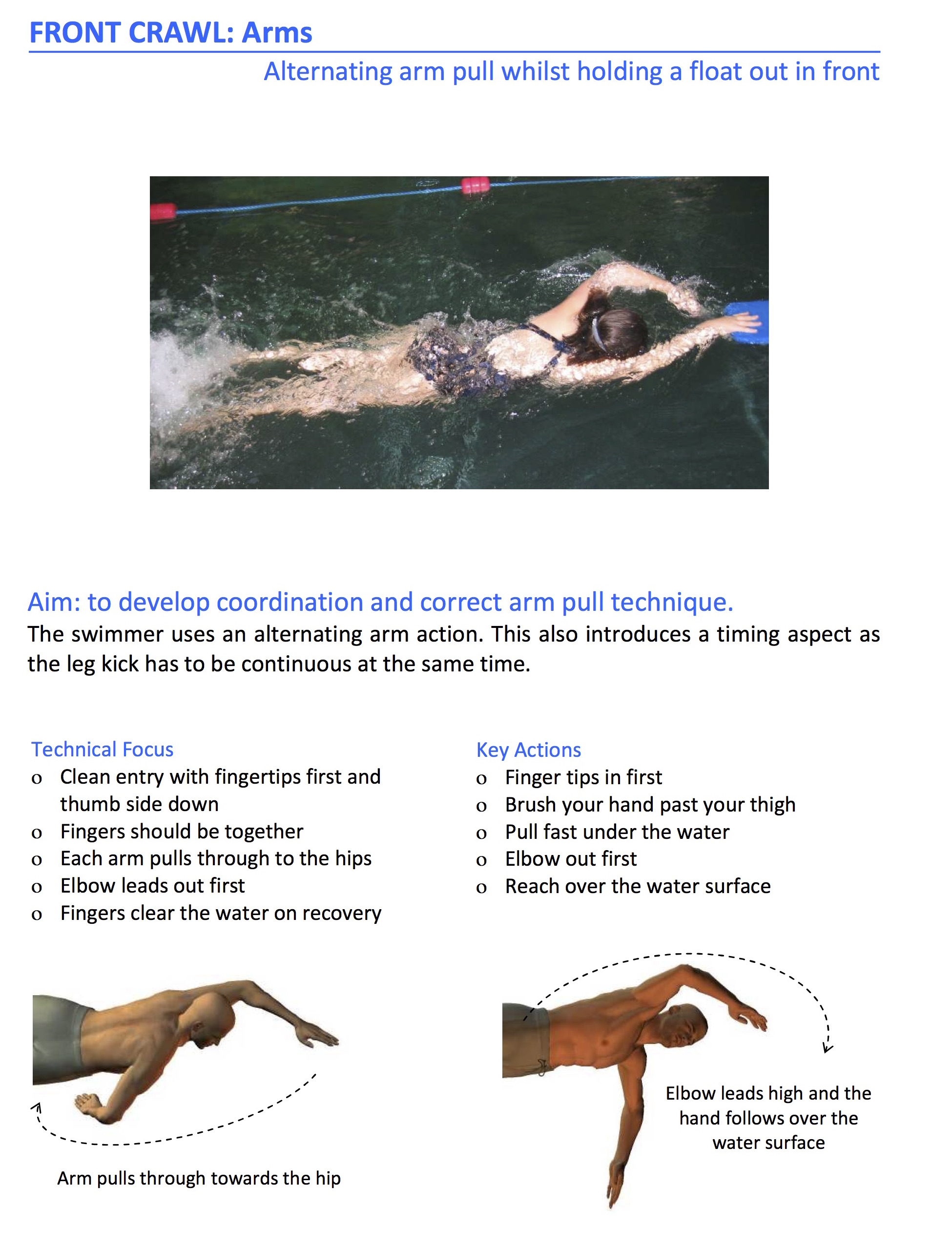 front crawl exercises